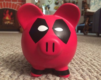 Deadpool Hand Painted Ceramic Piggy Bank Medium