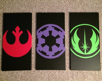 READY TO SHIP Star Wars Jedi Empire Rebel Canvas Painting Set of 3 12x24