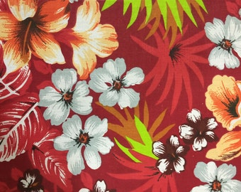 Red Hawaiian Print Poly Cotton Print Fabric - Sold By The Yard -  59""