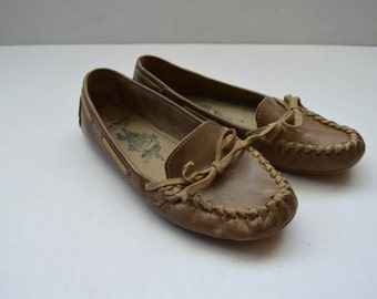 Womens Loafers Natural Brown Leather Oxford Shoes Vintage Flats Woven Hippie Shoes Festival Flats Eur 38 USA 7 1/2