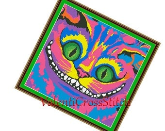 Rainbow Cheshire Cat Cross Stitch Pattern, Alice in Wonderland,funny, modern, pdf,counted cross stitch pattern