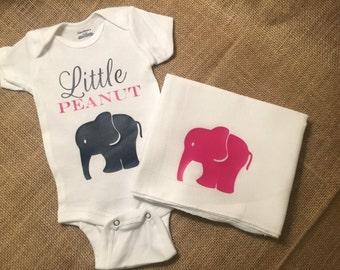 Little Peanut Baby Onesie Bodysuit and Burp cloth