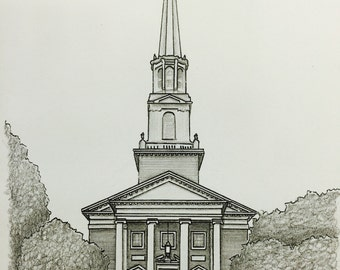 Custom Handdrawn House Photo in Pen and Pencil