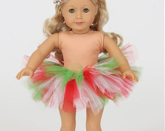 "18"" American Girl Doll Christmas Tutu & Headband - American Girl Tutu - American Girl Clothes"