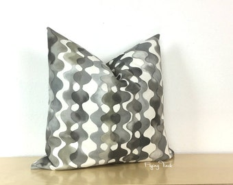 "Charcoal Gray and Black Watercolor ""Stripe"" Pillow cover - Knife Edge finish -  Clio - Black and Grey on White - Ikat"