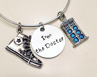 I'm the Doctor Tenth Doctor Trainers Doctor Who TARDIS Adjustable Bangle Charm Bracelet