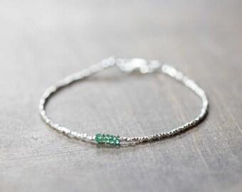 Delicate Fine Silver Bracelet with Emerald, Skinny Karen Hill Tribe Beaded Stacking Bracelet, Sterling Zambian Emerald Jewelry, Rose Gold
