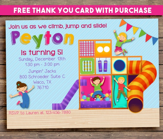 Indoor Playground Party Invitation. Jungle Gym. Girl or Boy. Digital Printable.  FREE THANK YOU Card!