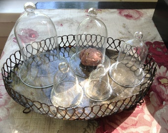 5 Small Glass Cloches~ Bell Jars