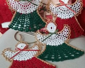 Christmas Ornament,Crochet Christmas Angels set of 4,Crochet Christmas, Crochet Christmas Decoration,Crochet Christmas Tree Decor