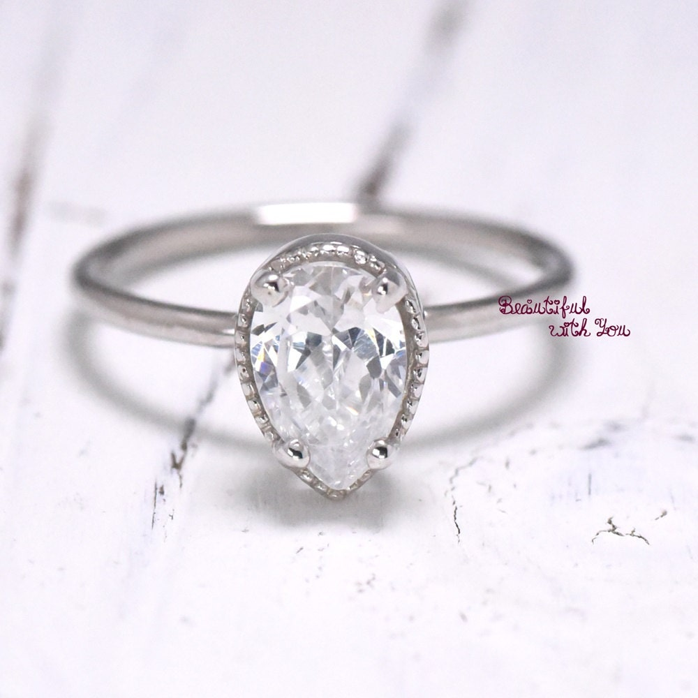 Teardrop Engagement Ring Vintage Ring Womens by BeautifulWithYou