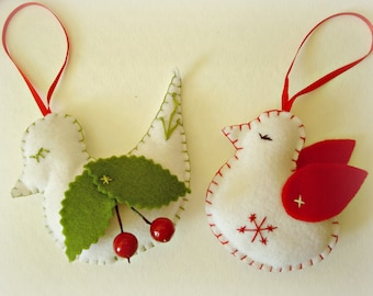 2 Holiday Bird Ornament Christmas Tree Ornament Christmas Decoration Christmas Tree Decorations Felt Bird Christmas Tree Decorations