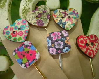 Heart and square wooden button hair slides.