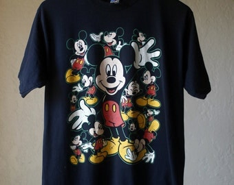 Vintage Mickey Mouse Shirt Mens Large Black Silk Screened / Washed Out Mickey Mouse Shirt / Disney Vintage Black washed out