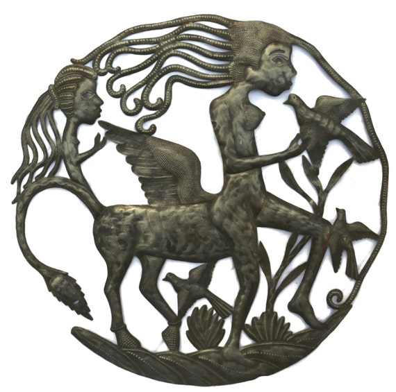 "Female Centaur, Haiti Metal Art half horse half woman 23"" x 23"""