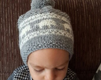 Wool hat, pompom, elephant hat, hat beret, beanie, knitting