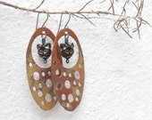 Copper earrings Cat earrings Rustic copper earrings Big earrings Dangle earrings Oval earrings Handmade earrings Boho earrings