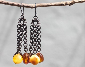 Baltic amber earrings, Baltic amber jewelry, Silver earrings, Copper earrings, Sterling silver jewelry, Gift for her, Amber earrings