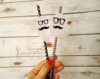 Set of 5 Hipster Ghost Paper Straws