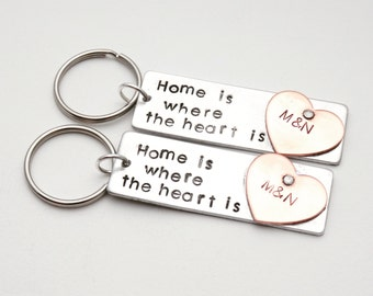 New home housewarming gift - New home gift - Personalized keychain - New house gift - Home is where the heart is - Gift women -