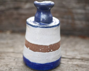 Flower Vase, pottery, unique, housewarming gifts, simple, minimal, gifts under 30, clay, vase, planter, blue, white