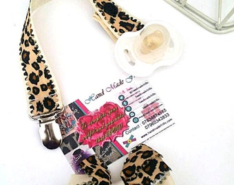 LEOPARD Cream dummy clip , Leopard pacifier clip Animal Print Binky clip