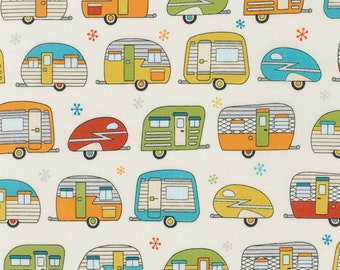 """Ivory Vintage Camper Trailer Fabric Robert Kaufman On The Road Silver Metallic 25"""" Bolt End"""