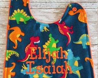 Baby Bib- Dinosaur Baby Bib, Personalized Baby Boy Bib, Monogrammed Boy Bib, Embroidered Baby Bib, Minky Baby Bib, Boy Baby Bib