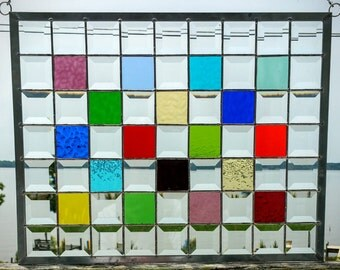 Stained Glass Multi-Colored And Beveled Panel