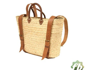 Straw baskets Backpack : French Basket, Moroccan Basket, straw bag, french market basket, Beach Bag, straw bag