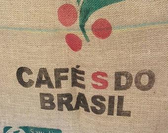 Menegueli & Garcia Cafe S Do Brasil Burlap Sack, Coffee Sack, Burlap Coffee Bag, Large Cloth Sack, Brasil, Menegueli and Garcia Coffee Bag