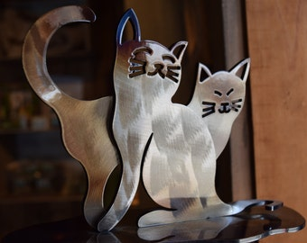 Hand Forged Wrought Iron Cat Sculpture
