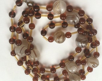 Vintage Glass Beads Long Necklace/Shades of Brown/Lobster Clasp/Before 1997