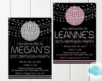 Personalised 'Disco Ball' Birthday Invitations with Envelopes