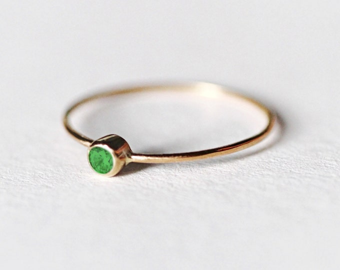 Emerald Gold Ring Natural Stone May Birthstone Simple Wedding Minimalist Dainty Engagement Gemstone Jewelry Stacking Yellow Solid Gold Ring