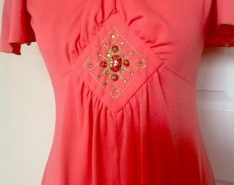 Vintage 1970's Maxi Dress - Size 10/12