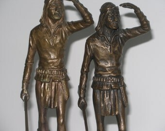 Pair of American Indian Statues Bronze Apache Scout Figures Signed P. Kraczkowski Sculptor Near pair of Bronze Native Americans Figures