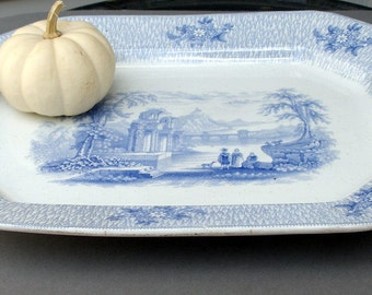 "Large Serving Platter , Country Server  Romantic Staffordshire, ""Corinth"" c.1850   Blue and White Transferware Platter, English Pottery"