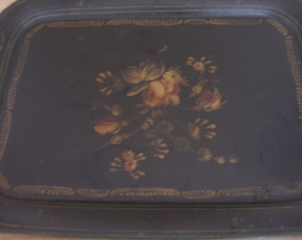 Vintage Toleware Tray Roses and Daisies Handpainted Tole Antique Tole Old Toleware Old Paint Early Toleware American Tole Patina