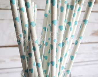 BABY BLUE HEART, 25 Paper Straws With Baby Blue Heart Pattern, Vintage, Baby Shower, Wedding, Birthday Paper Straws, Vintage