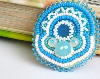 Blue beaded brooch, brooch bead, embroidered brooch, beadwork
