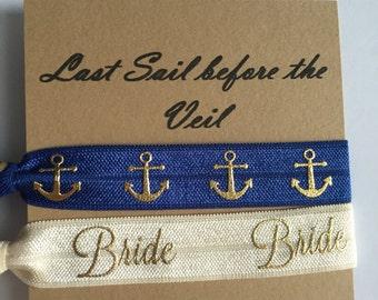 Last Sail Before the Veil// Hair Tie// Bachelorette Favor // maid of honor, bridesmaid//