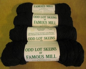 4 Skeins black 4 ply worsted wt knitting crochet yarn,thinner than average yarn, 100% acrylic, by Famous Mill, USA