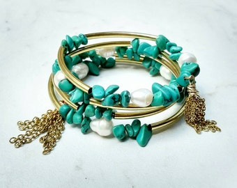 Wrap Bracelet-Turquoise and Pearl-Tassel-Julian Bracelet-Charm Candy Studio