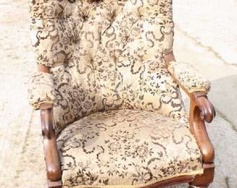 Victorian Mahogany Framed Open Arm Chair