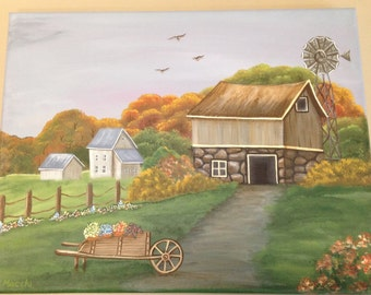 Field and farm scene on stretched canvas