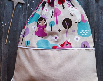 Bag/BACKPACK-print cotton princesses. Perfect for the nursery.