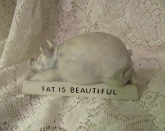 Vintage Pig Figurine, Fat is Beautiful, American Greetings