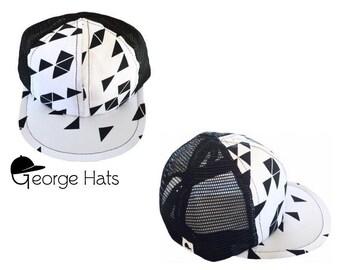 Toddler & Kids Trucker Hat / Baby Trucker Hat / Kids Snapback / TRIANGLE WHITE