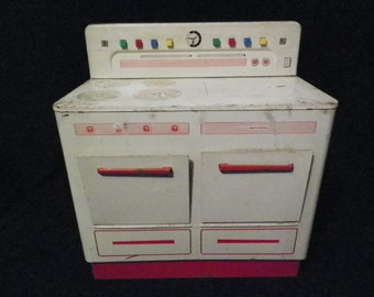 Vintage 1950s Wolverine Toy Tin Stove, White with Red Trim
